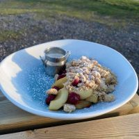 Apple and Berry Crumble with cream for collection Saturday 6th March
