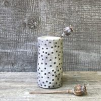 Small hand painted polka vase