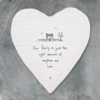"Porcelain Heart Coaster ""Just the right amount"""
