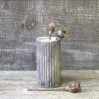 Small Hand Painted Vase Etched Stripe