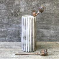 Light Striped Medium Hand Painted Vase